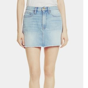 Levi's Light Wash Frayed Denim Cut Off Skirt